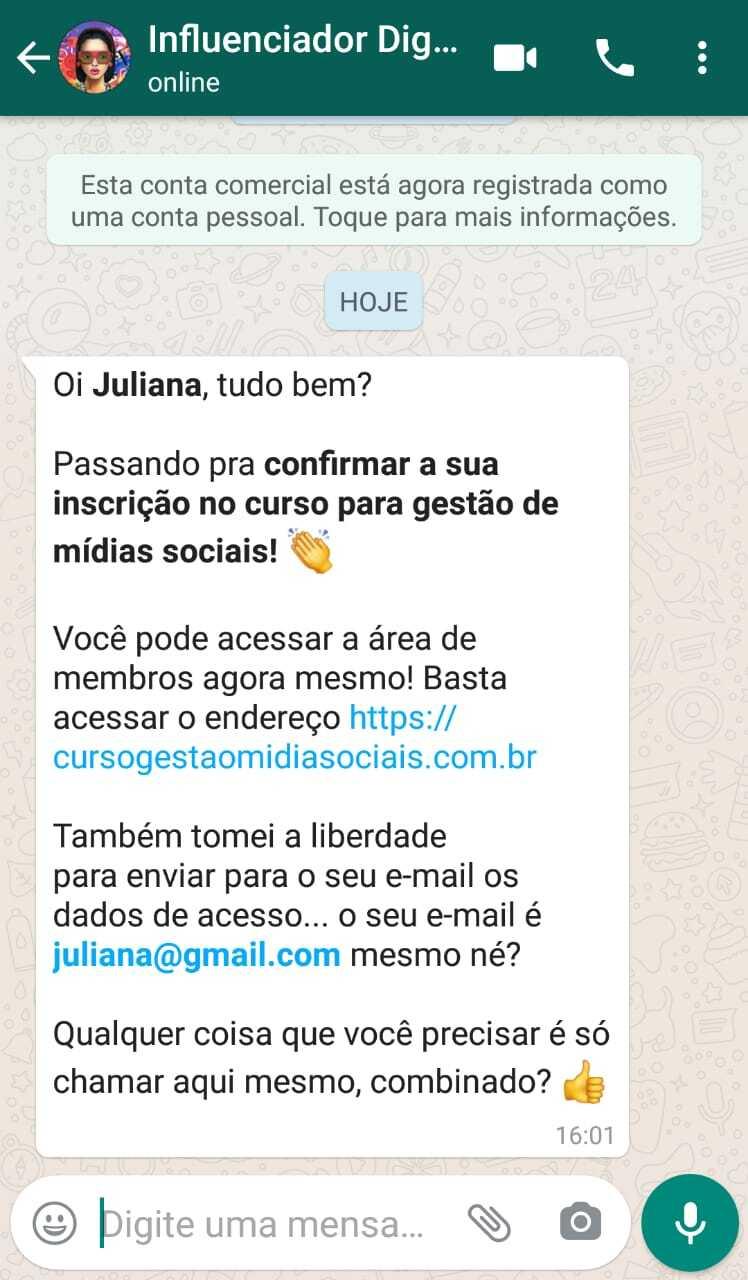 Exemplo de notificação no whatsapp